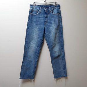 Levis wedgie jeans / distressed hems / straight leg